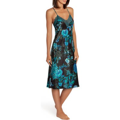 In Bloom By Jonquil Peacock Satin Nightgown, Blue (Nordstrom Exclusive)