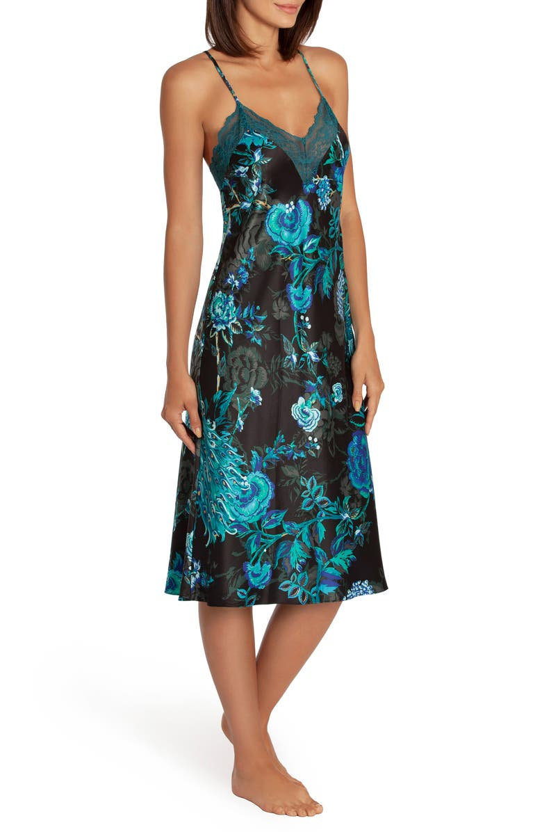 IN BLOOM BY JONQUIL Peacock Satin Nightgown, Main, color, BLUE