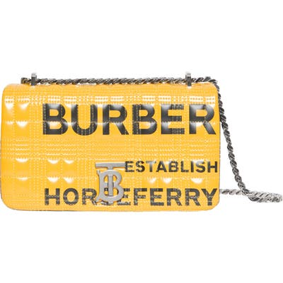 Burberry Small Lola Tb Horseferry Print Quilted Check Shoulder Bag - Yellow