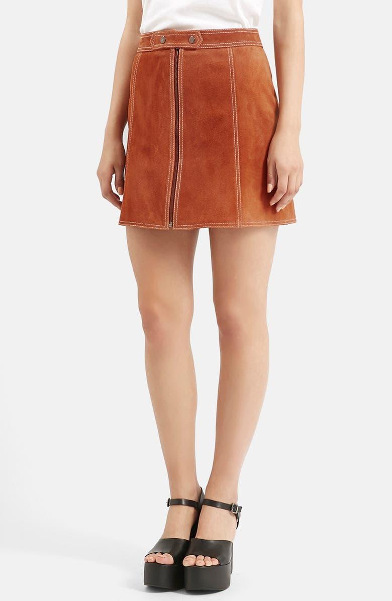 TOPSHOP Suede A-Line Miniskirt, Main, color, 610