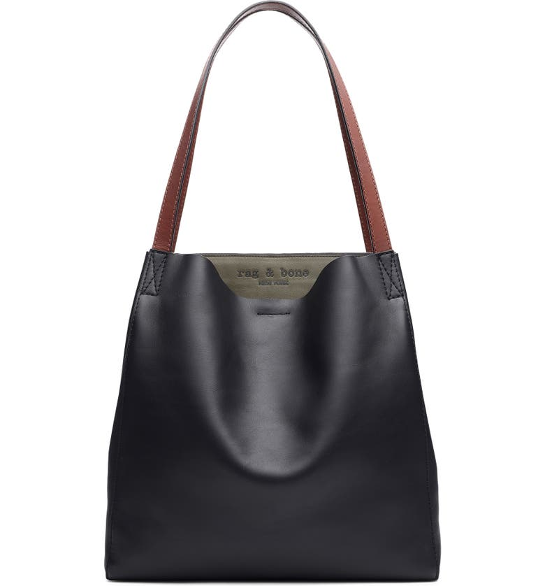 RAG & BONE Passenger Leather Tote, Main, color, BLACK/ OLVNGT