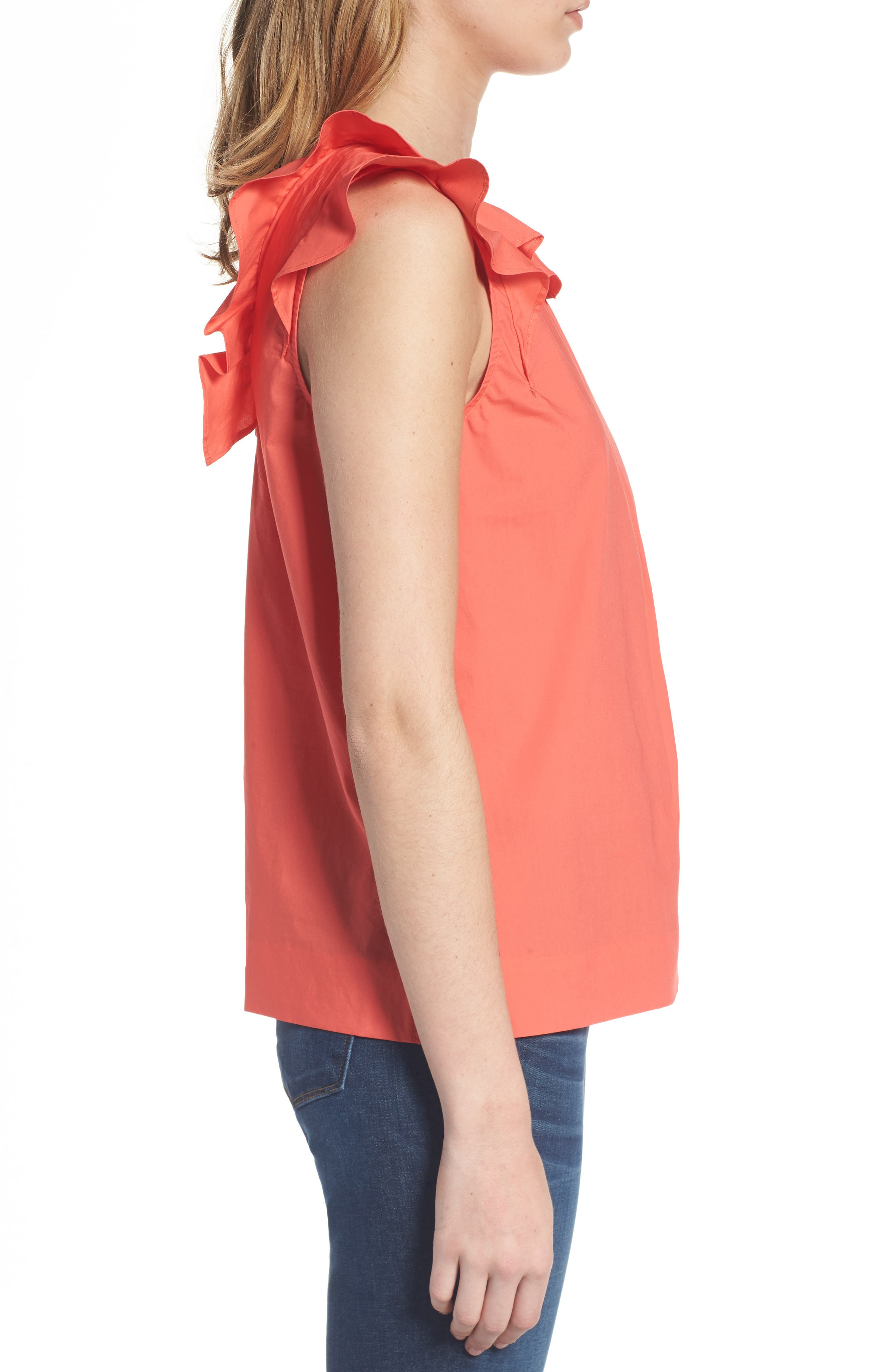 ,                             Ruffle Cotton Poplin Top,                             Alternate thumbnail 14, color,                             950