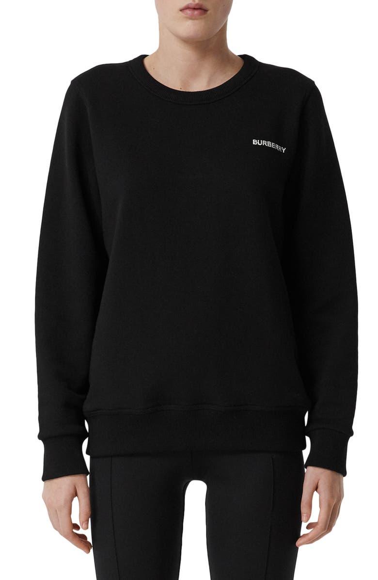 BURBERRY Fairhall TB Crystal Embellished Cotton Sweatshirt, Main, color, BLACK