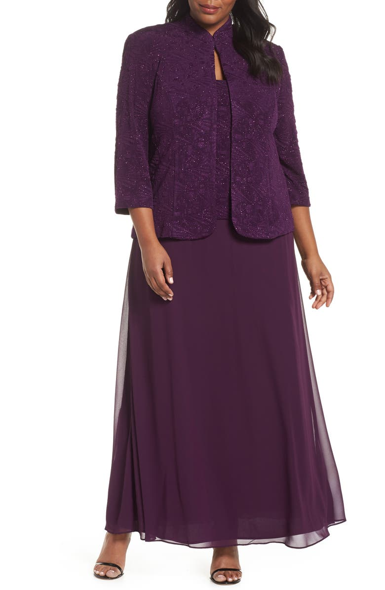 ALEX EVENINGS Mock Two-Piece Gown with Jacket, Main, color, EGGPLANT