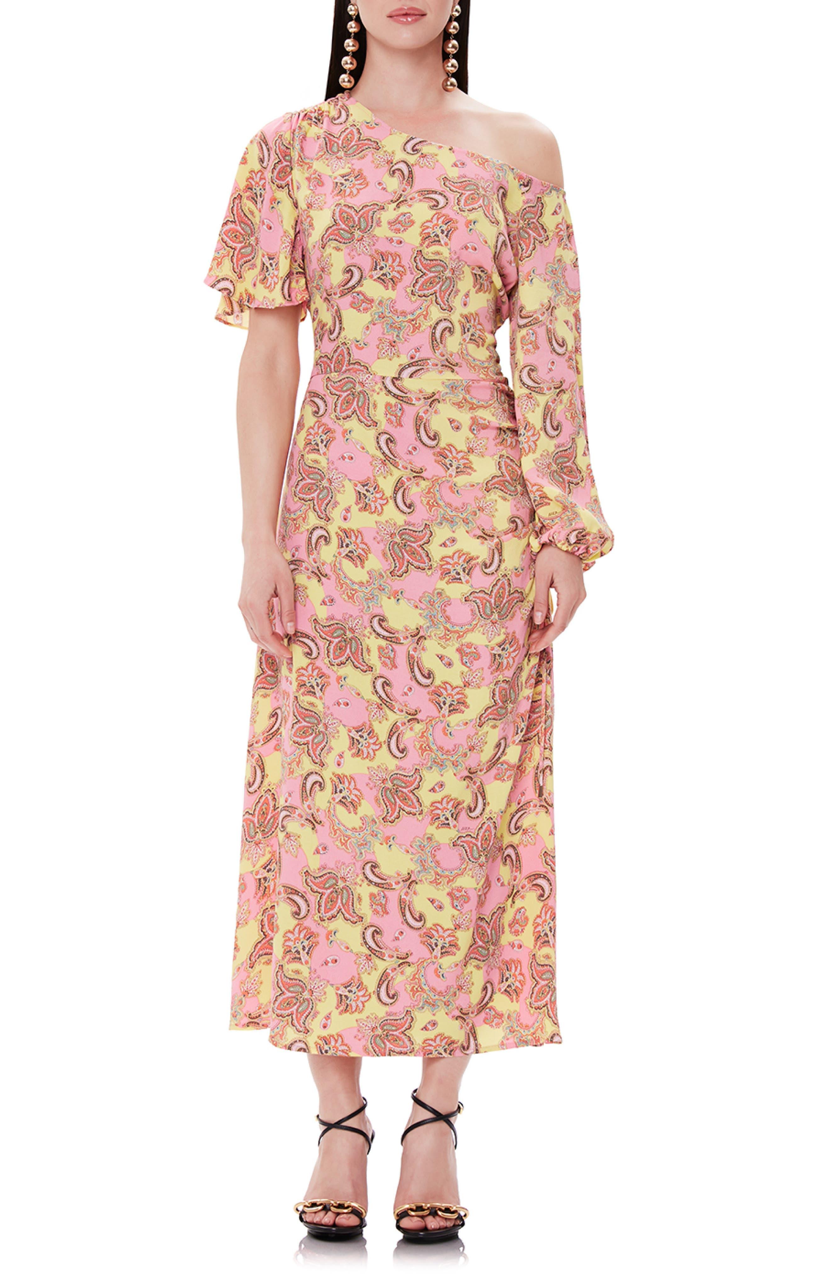Afrm One-Shoulder Printed Midi Dress, Pink