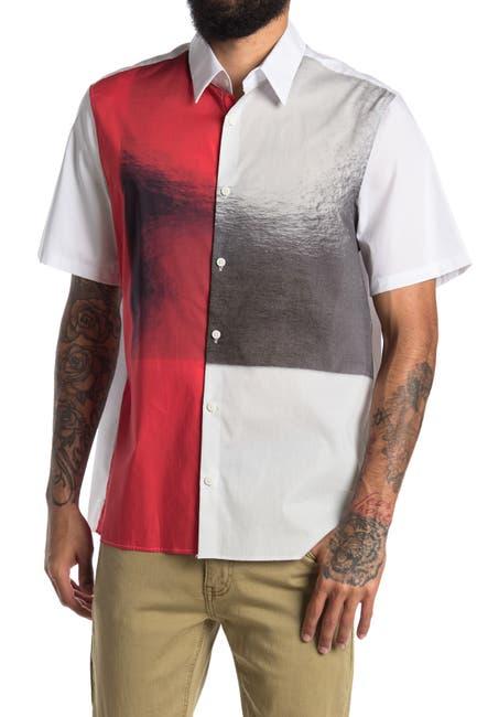 Image of Calvin Klein Color Block Collared Button Front Shirt