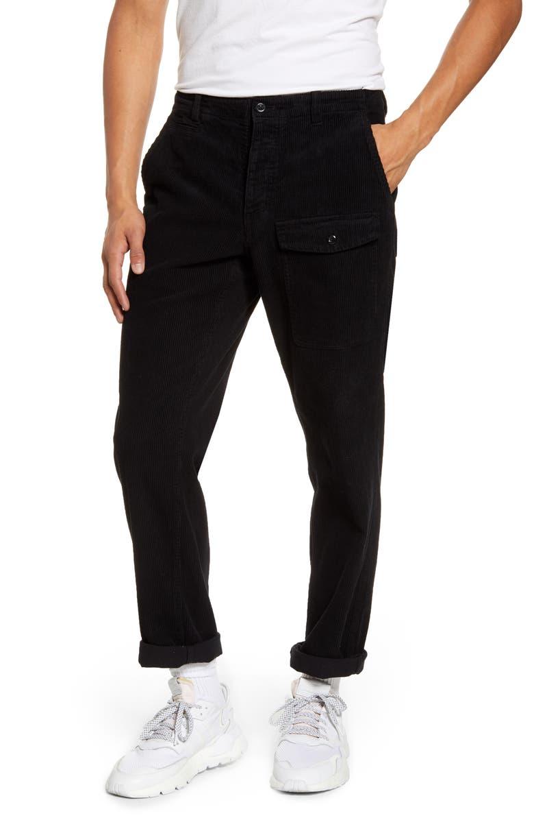 SATURDAYS NYC Corduroy Cargo Pants, Main, color, BLACK