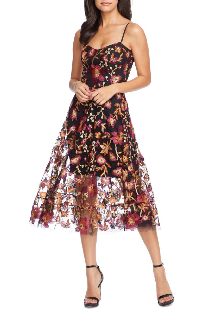 DRESS THE POPULATION Uma Floral Embroidered Lace Dress, Main, color, MAROON-BLACK MULTI