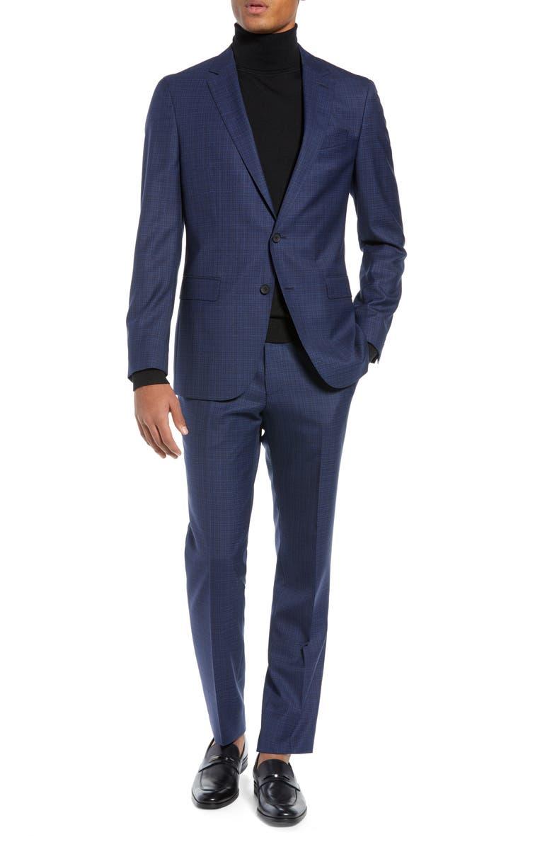 BOSS Novan/Ben Slim Fit Check Wool Suit, Main, color, 475