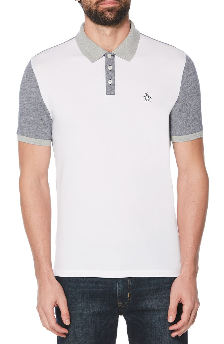 ORIGINAL PENGUIN Colorblock Bird's Eye Piqué Polo, Main, color, 118