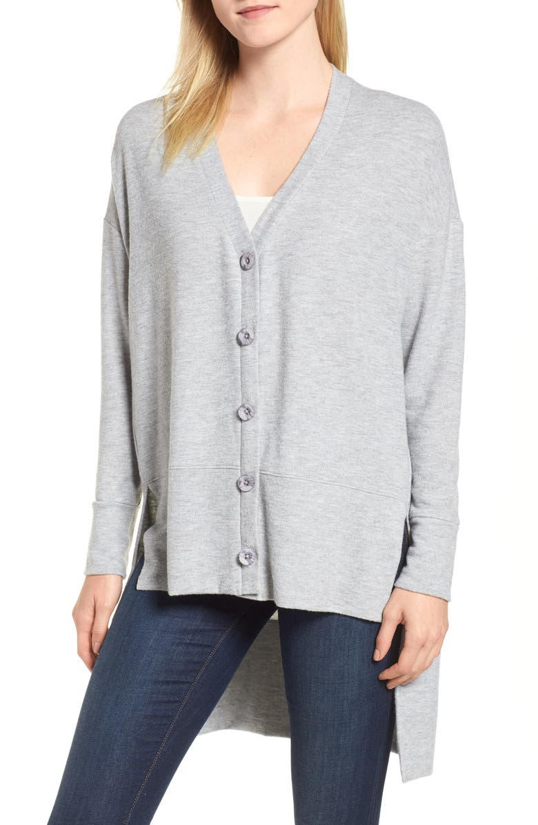 GIBSON High/Low Easy Cardigan, Main, color, LIGHT HEATHER GREY