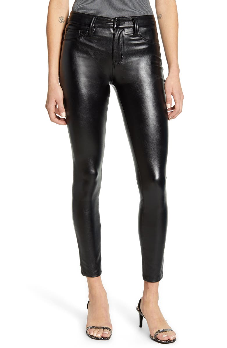 TINSEL Coated Skinny Jeans, Main, color, BLACK
