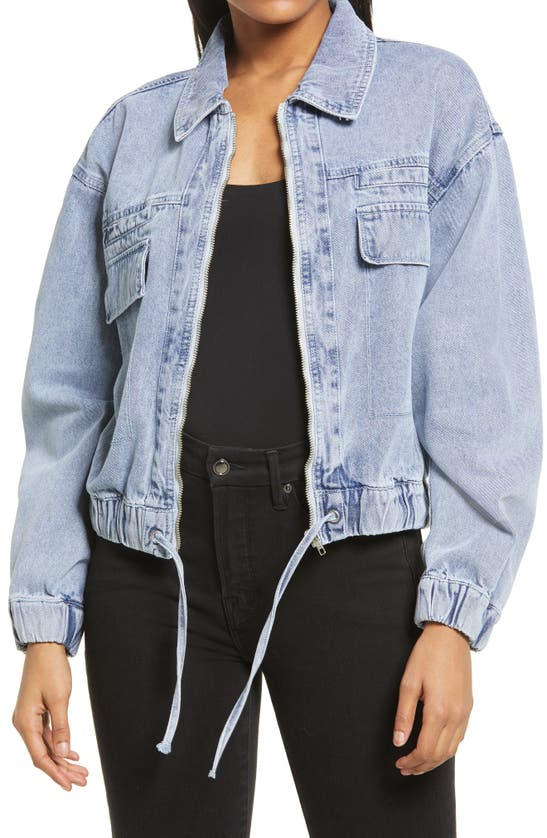 Kendall + Kylie Double Pocket Crop Jacket In Acid Wash Blue