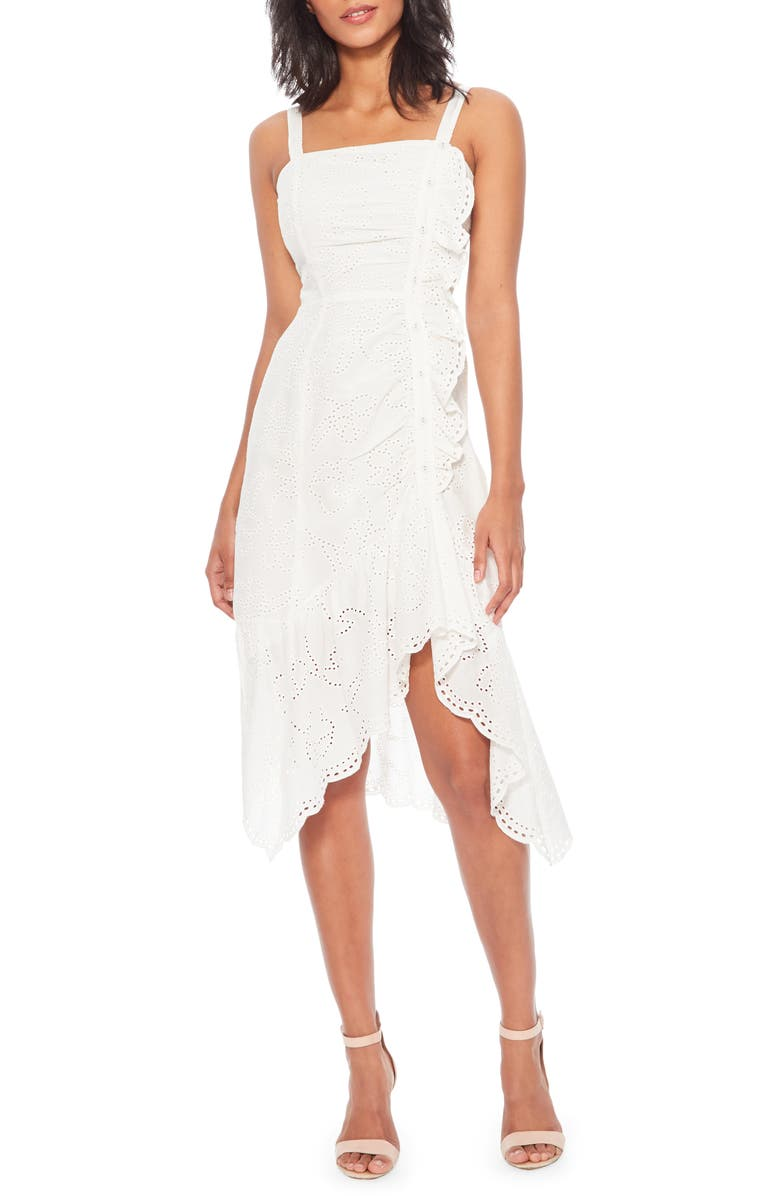 PARKER Millie Sleeveless High/Low Dress, Main, color, WHITE