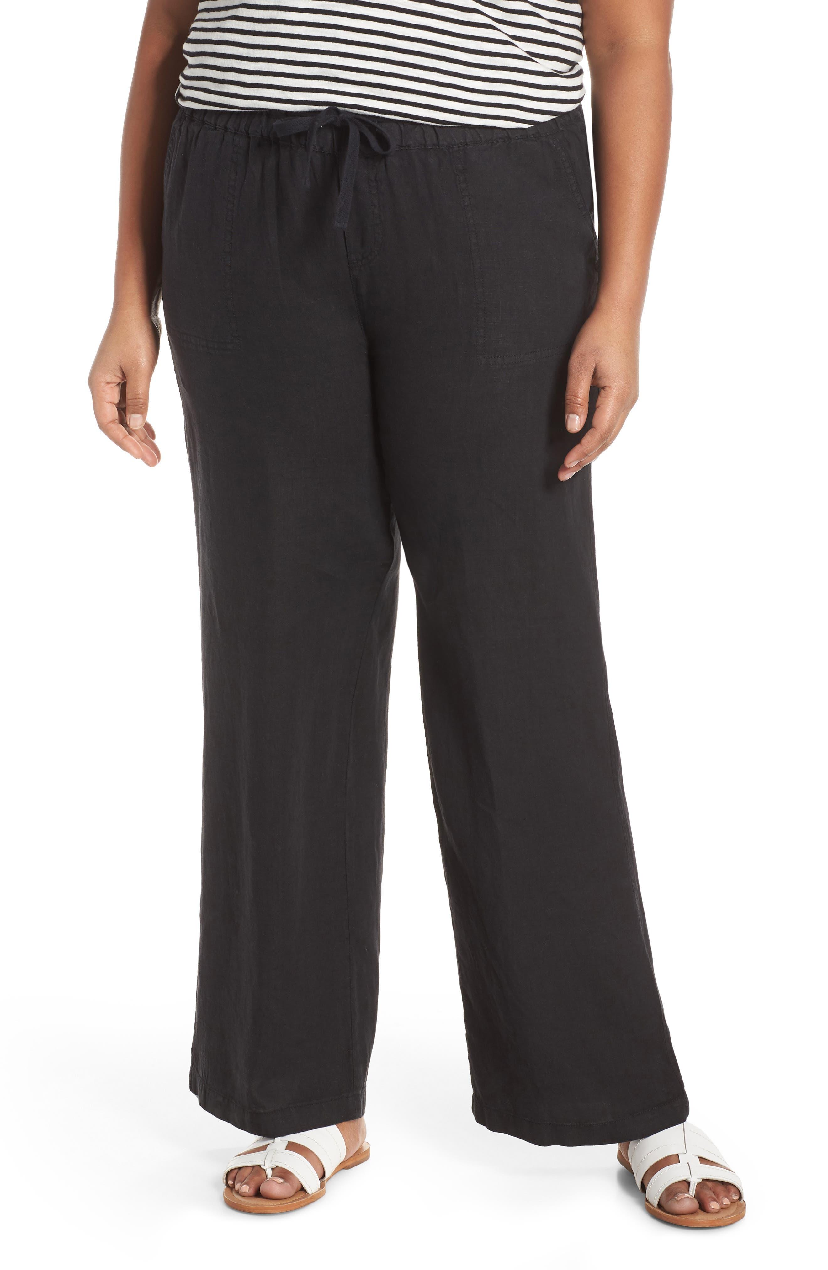 Plus Size Women's Caslon Linen Blend Drawstring Pants