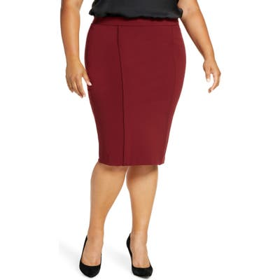 Plus Size Eloquii 9-To-5 Stretch Knit Pencil Skirt, Red
