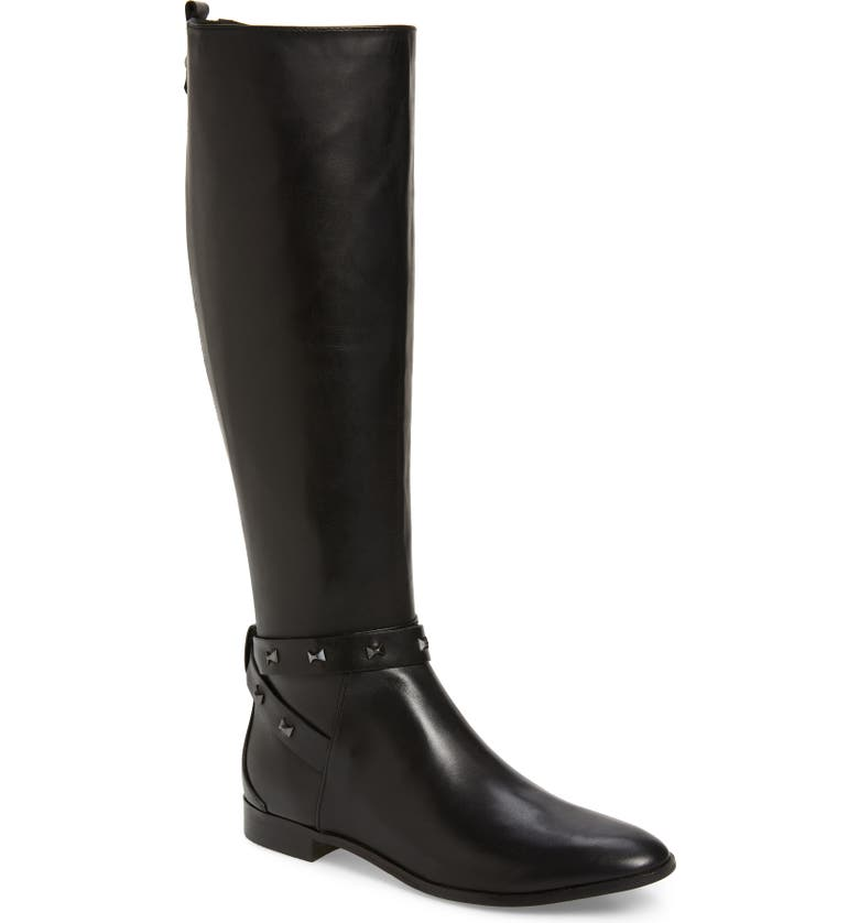 TED BAKER LONDON Plannia Bow Hardware Knee High Riding Boot, Main, color, BLACK