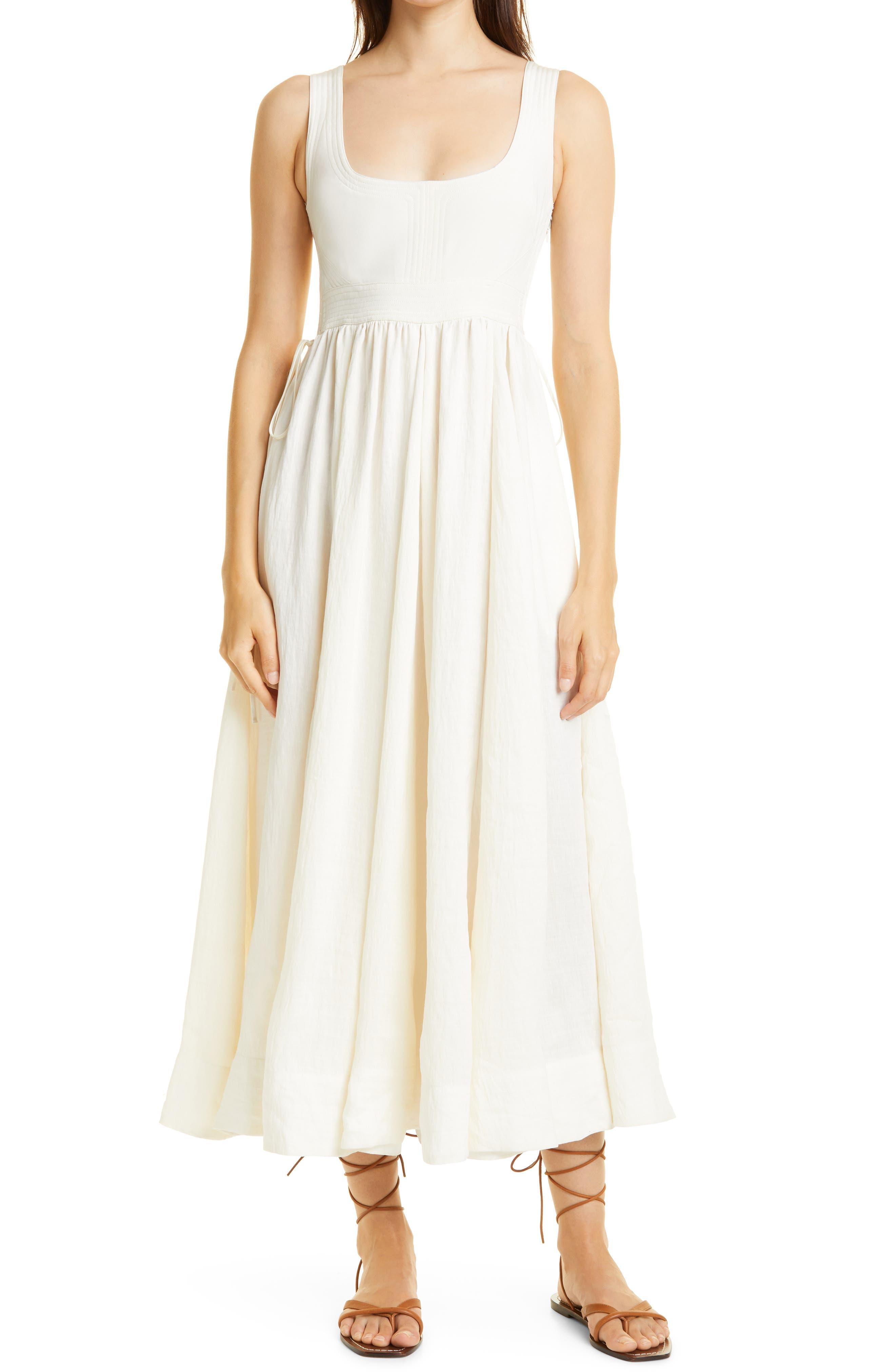 Smocked Sleeveless Silk & Linen Maxi Dress