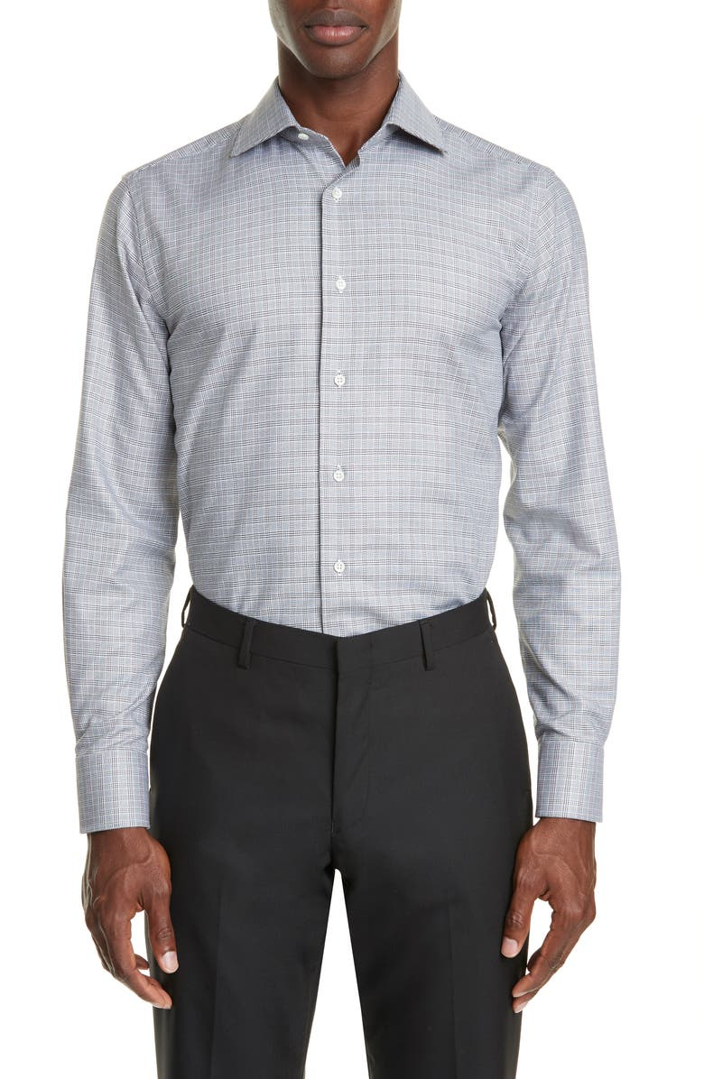 CANALI Trim Fit Plaid Dress Shirt, Main, color, GREY