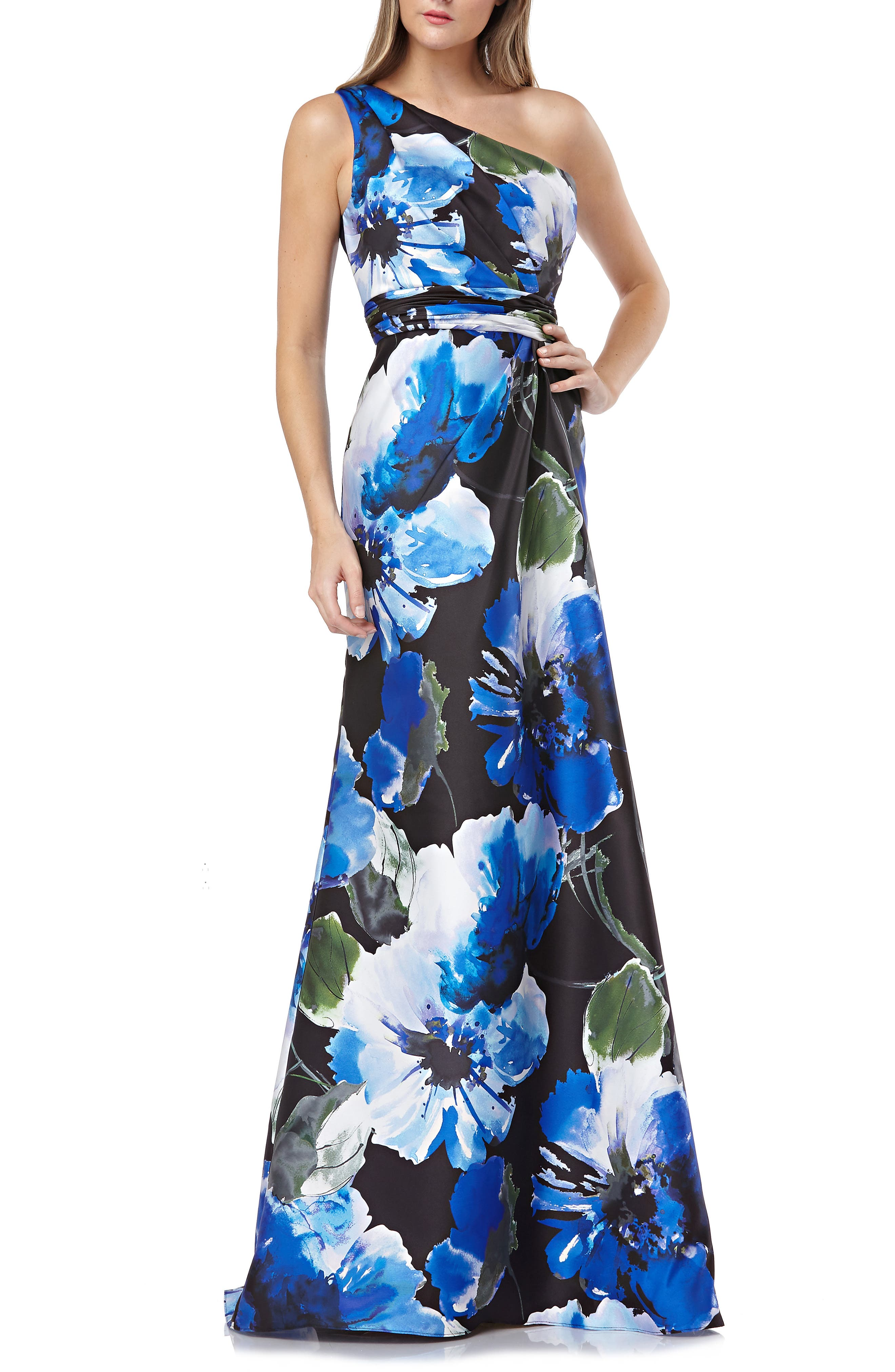 Carmen Marc Valvo Infusion One-Shoulder Mikado Gown, Blue