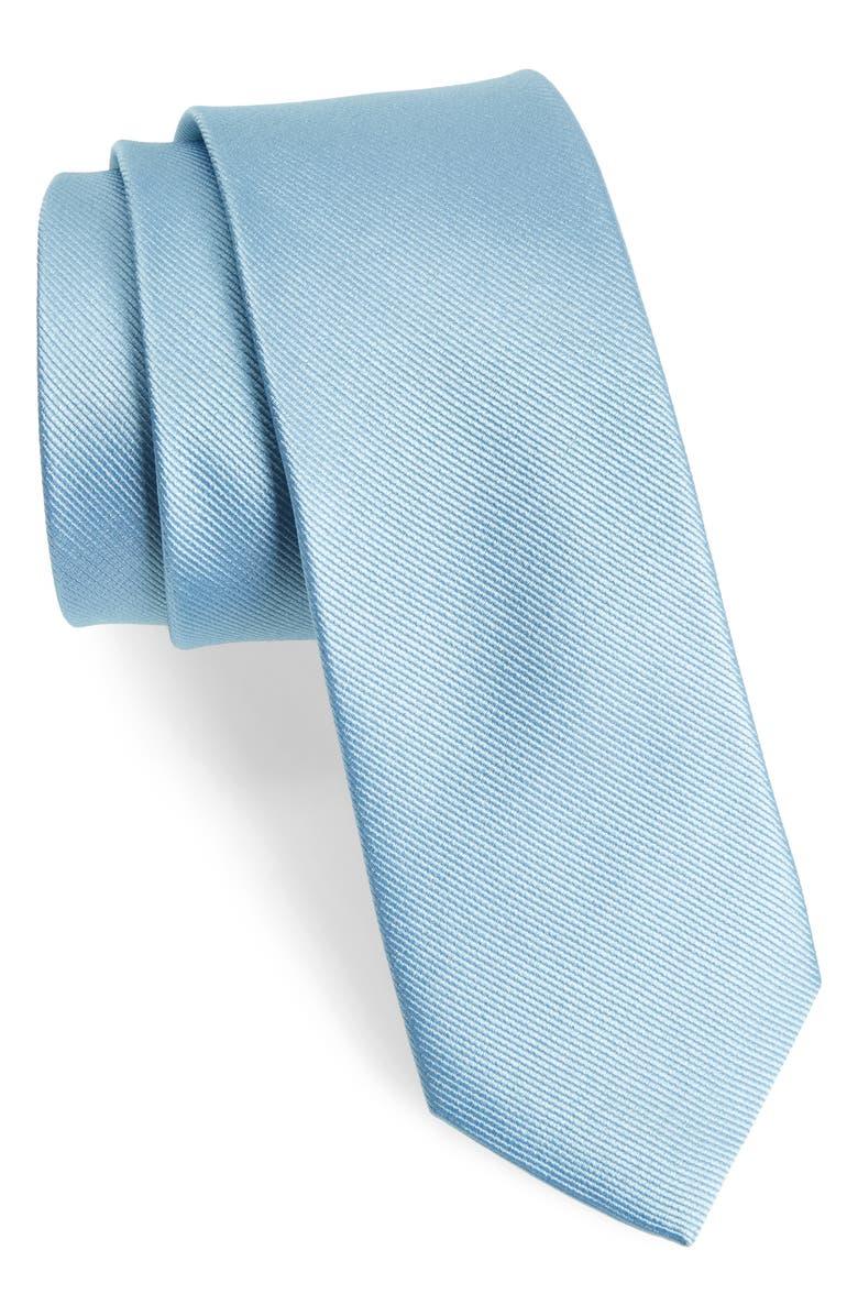 THE TIE BAR Solid Silk Tie, Main, color, STEEL BLUE