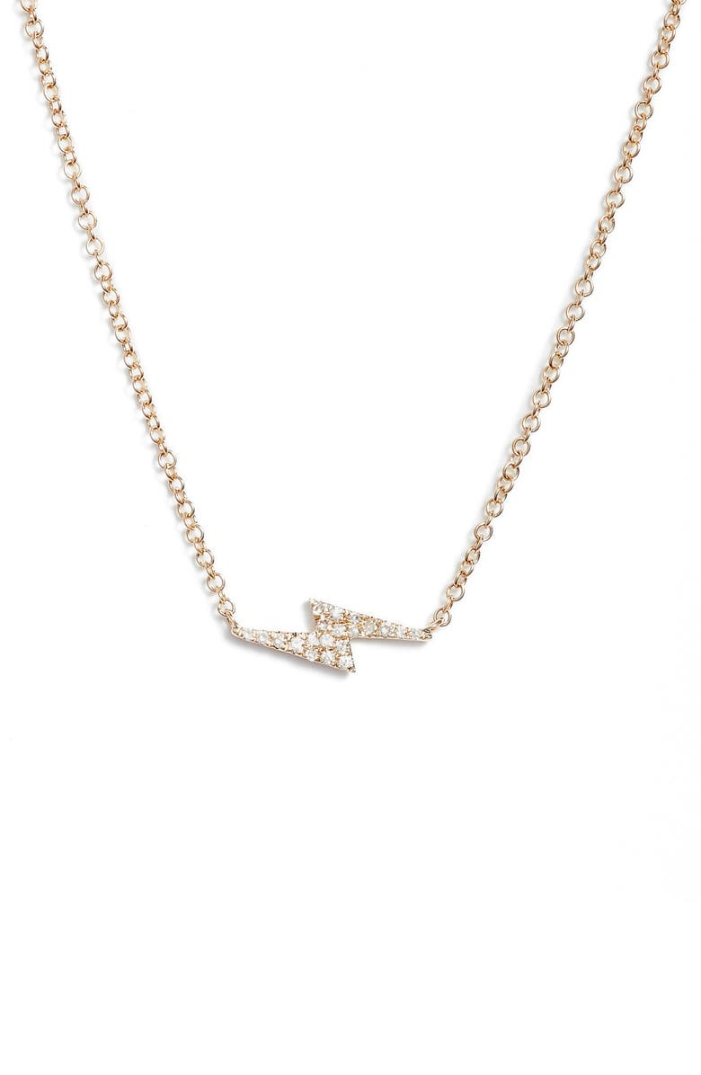 EF COLLECTION Diamond Lightning Bolt Pendant Necklace, Main, color, 710