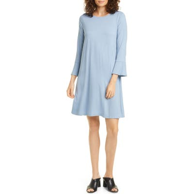 Eileen Fisher Bell Cuff Tencel Lyocell Blend Jersey Dress, Blue