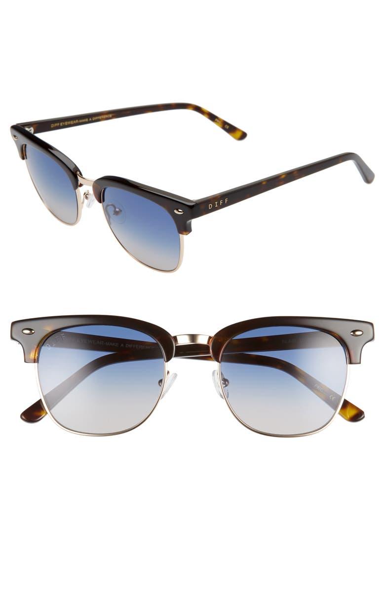 DIFF Blair Core 50mm Gradient Sunglasses, Main, color, TORTOISE W GOLD/ BLUE