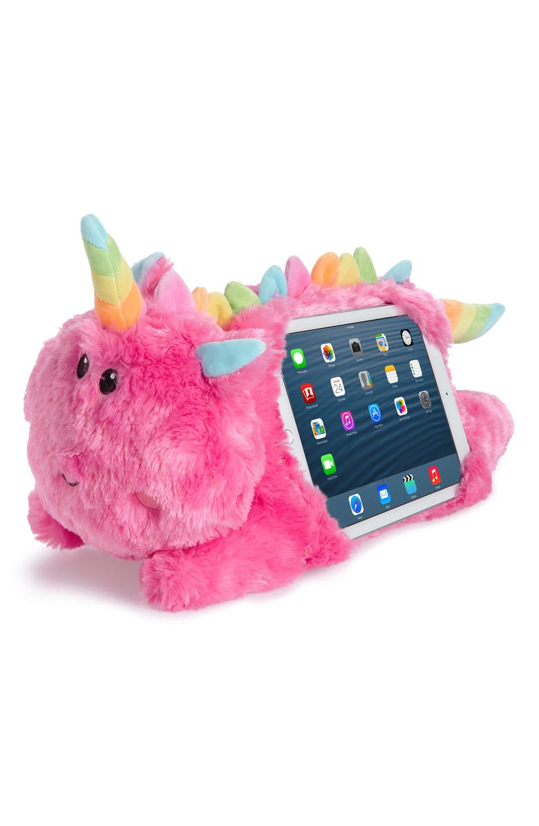ISCREAM Unicorn Faux Fur Tablet Holder Pillow, Main, color, PINK