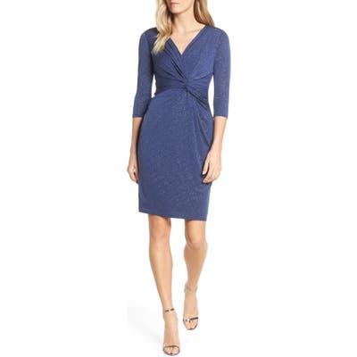 Plus Size Vince Camuto Twist Front Glitter Cocktail Dress, Blue
