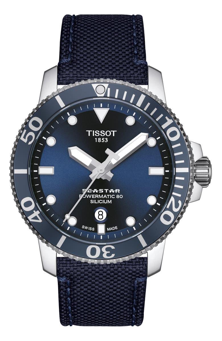 TISSOT Seastar 1000 Powermatic 80 Mesh Strap Watch, 43mm, Main, color, BLUE/ SILVER