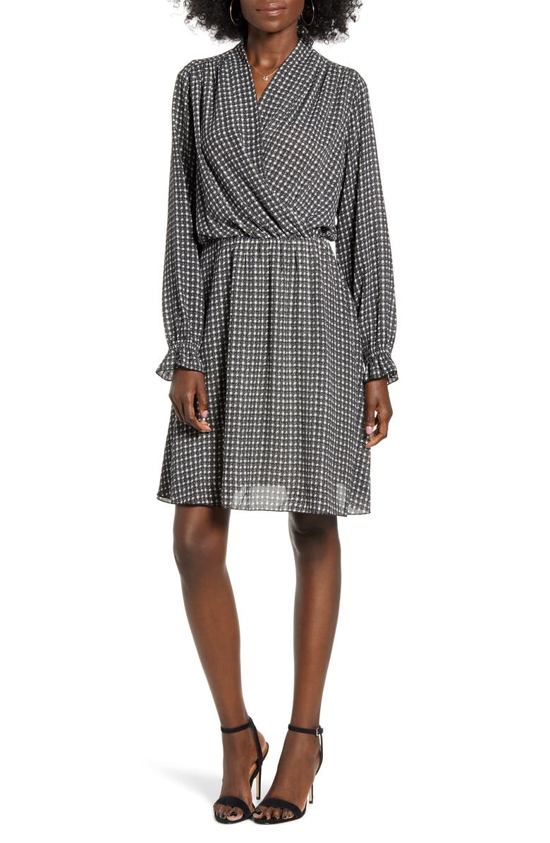 VERO MODA Individual Long Sleeve Faux Wrap Dress, Main, color, BIRCH