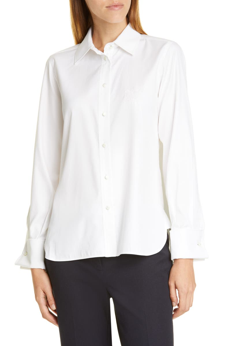 MAX MARA Pegaso Cotton & Silk Shirt, Main, color, WHITE