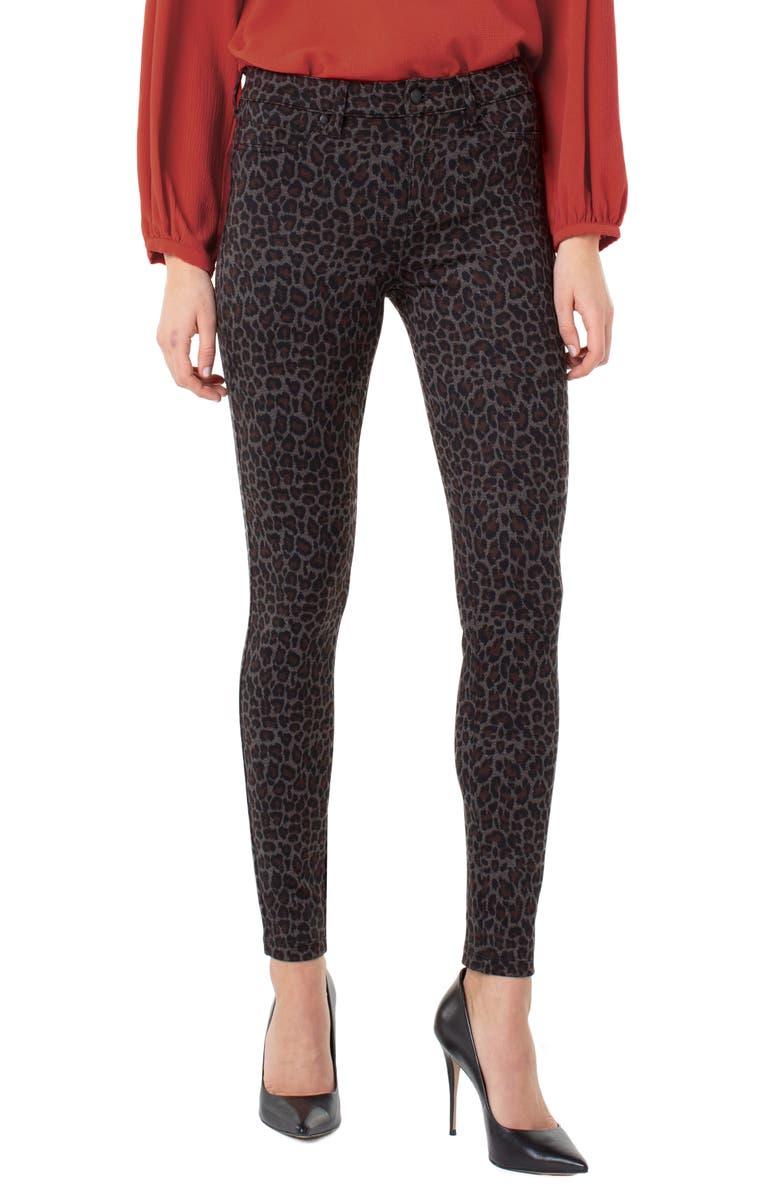 LIVERPOOL Print Super Skinny Knit Pants, Main, color, BROWN CHEETAH