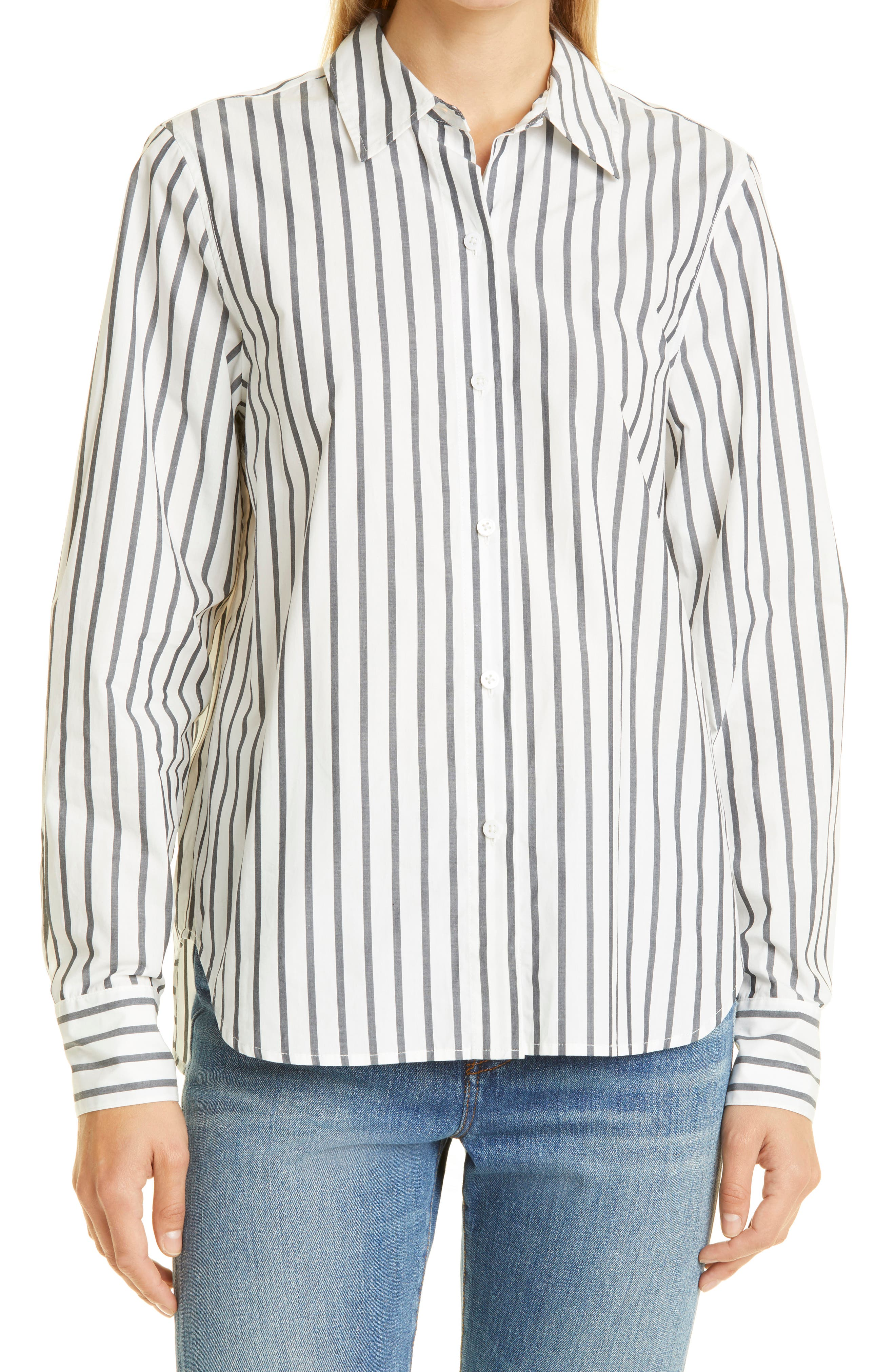 Classic Stripe Cotton Button-Up Shirt