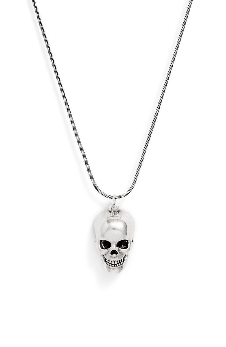 NORDSTROM Snake Chain Pendant Necklace, Main, color, SILVER SKULL
