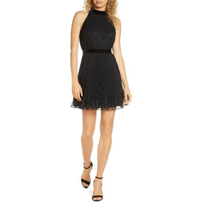 Ali & Jay Dancing Lady Pleated Lace Minidress, Black