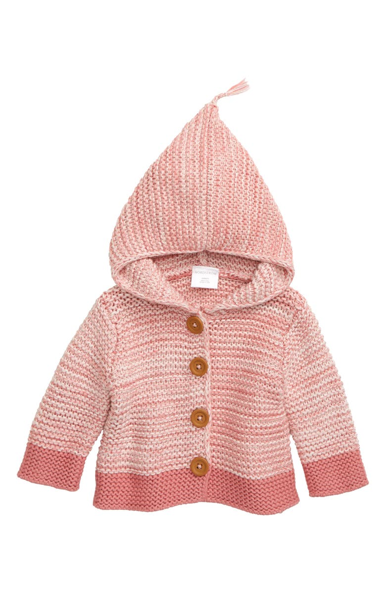 NORDSTROM BABY Marled Colorblock Organic Cotton Sweater, Main, color, PINK SILVER