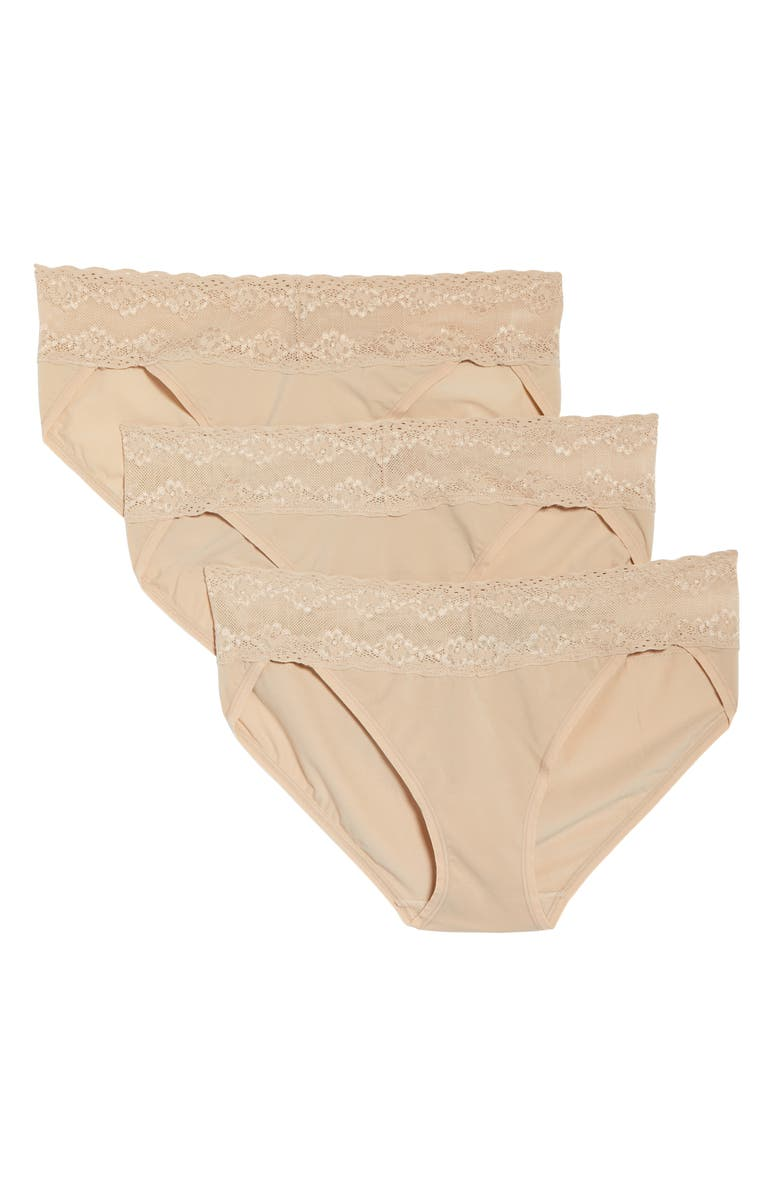 NATORI Bliss Perfection 3-Pack Bikini Briefs, Main, color, CAFE