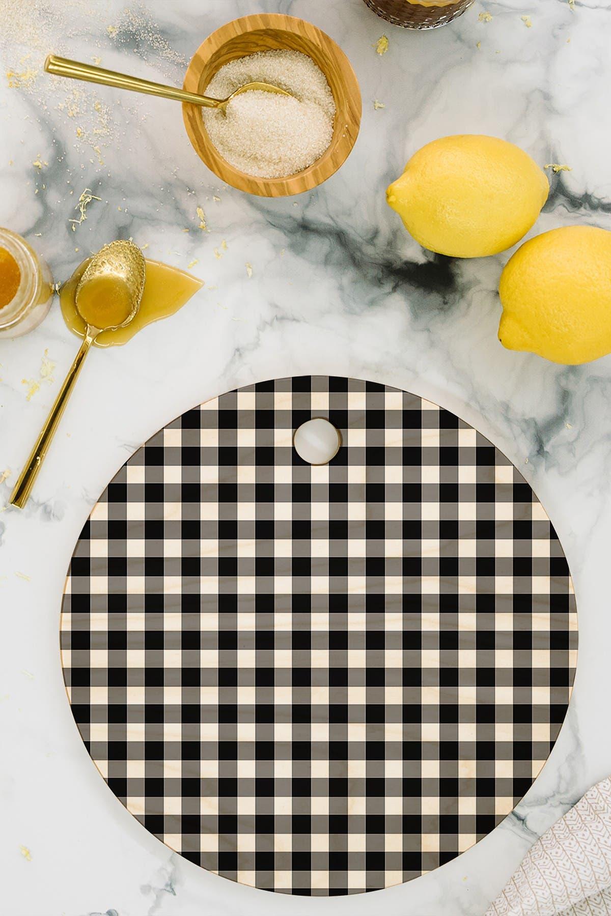 Image of Deny Designs Caroline Okun Ebony Gingham Round Cutting Board
