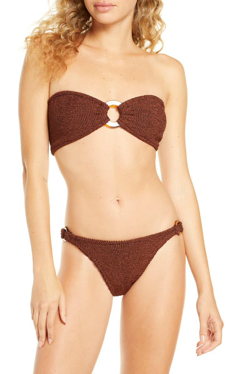 HUNZA-G Gloria Two-Piece Bandeau Bikini Swimsuit, Main, color, METALLIC BRONZE