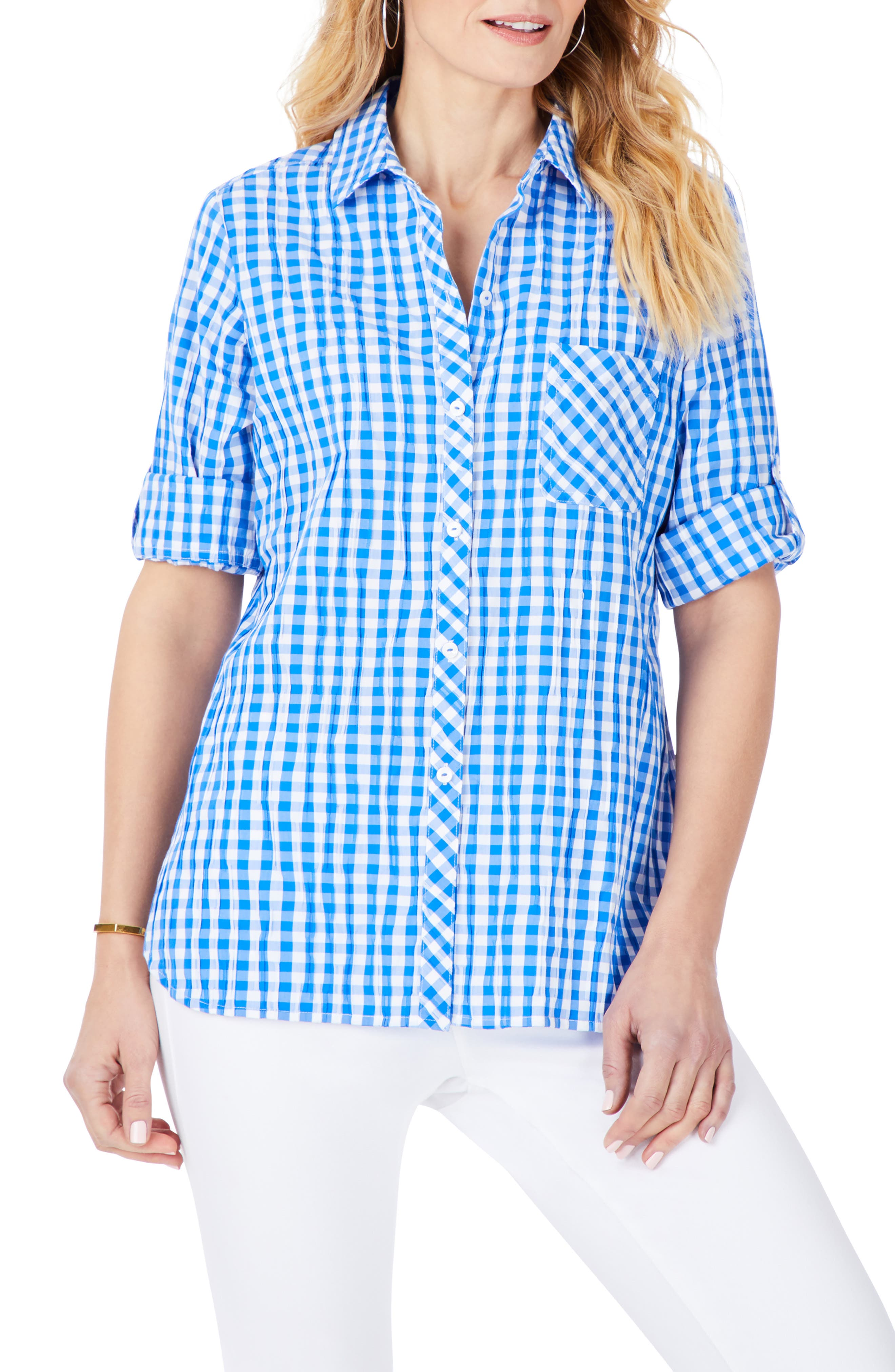 Crinkle Gingham Button-Up Shirt