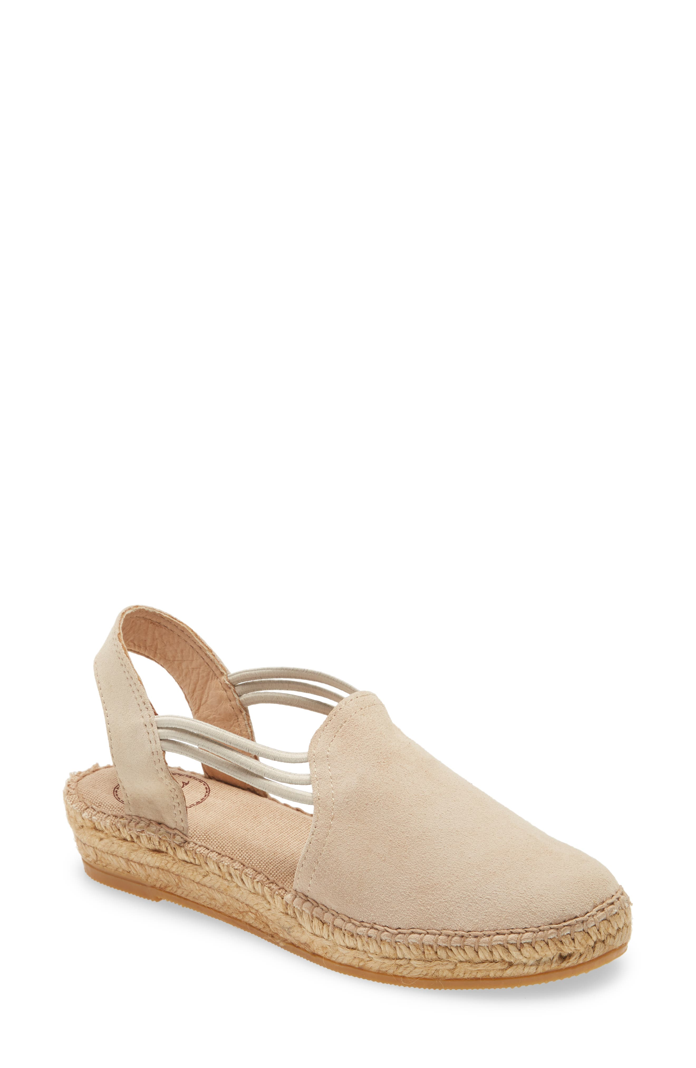 Sophistication and ease combine on this chic sandal from Toni Pons, a company that has been making stylish espadrilles for over 50 years. With a leather-lined toe box and elastic bands for a comfy, custom fit, you\\\'ll want to wear this sandal all summer long. Style Name: Toni Pons \\\'Nuria\\\' Suede Sandal (Women). Style Number: 1061248. Available in stores.