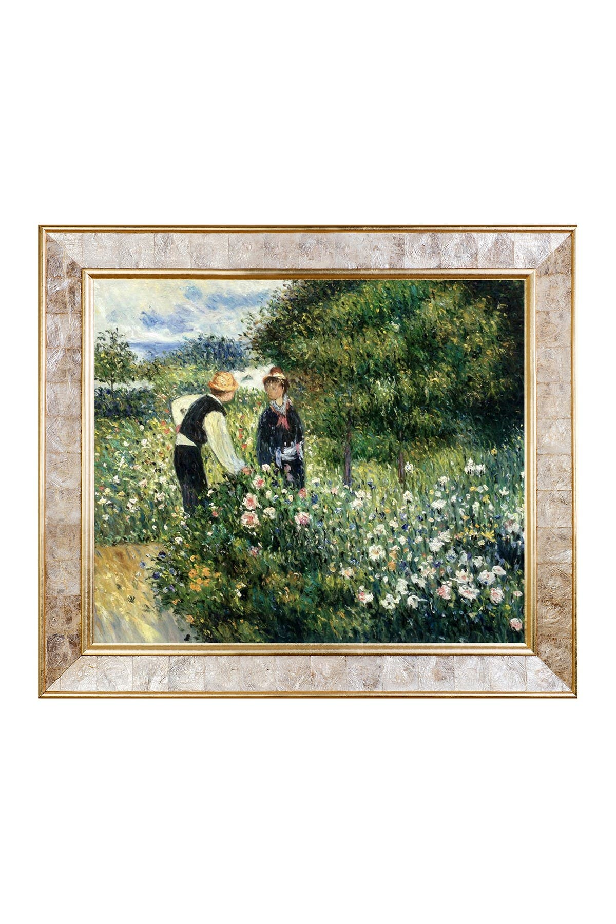 Picking Flowers, 1875 by Pierre-Auguste Renoir Framed Hand Painted Oil on Canvas at Nordstrom Rack
