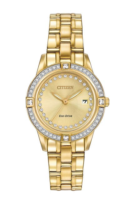 Image of Citizen Women's Eco-Drive Silhouette Crystal Gold-tone Bracelet Watch, 29mm