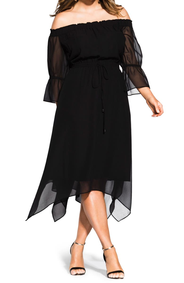 CITY CHIC Reflections Off the Shoulder Midi Dress, Main, color, BLACK