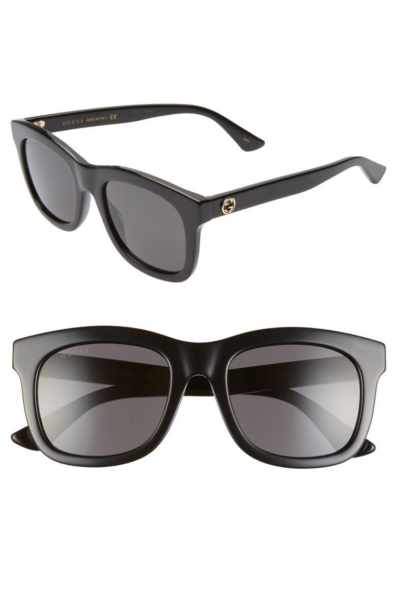 GUCCI 52mm Rectangle Sunglasses, Main, color, 001