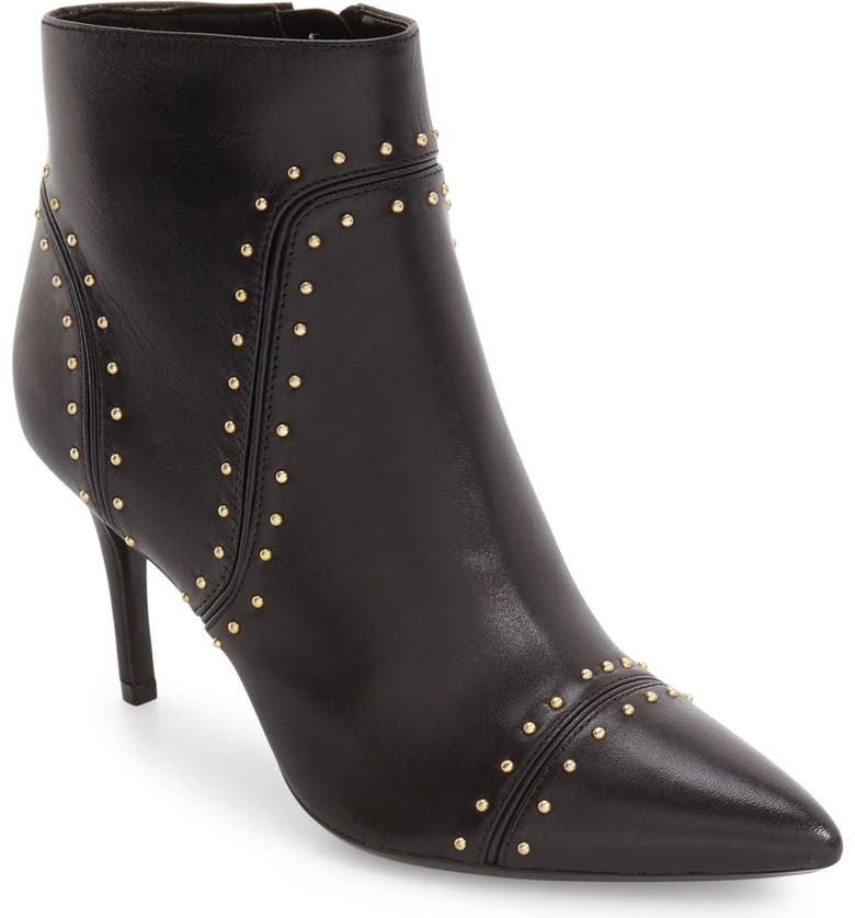 CALVIN KLEIN Grazie Studded Pointy Toe Bootie, Main, color, BLACK LEATHER