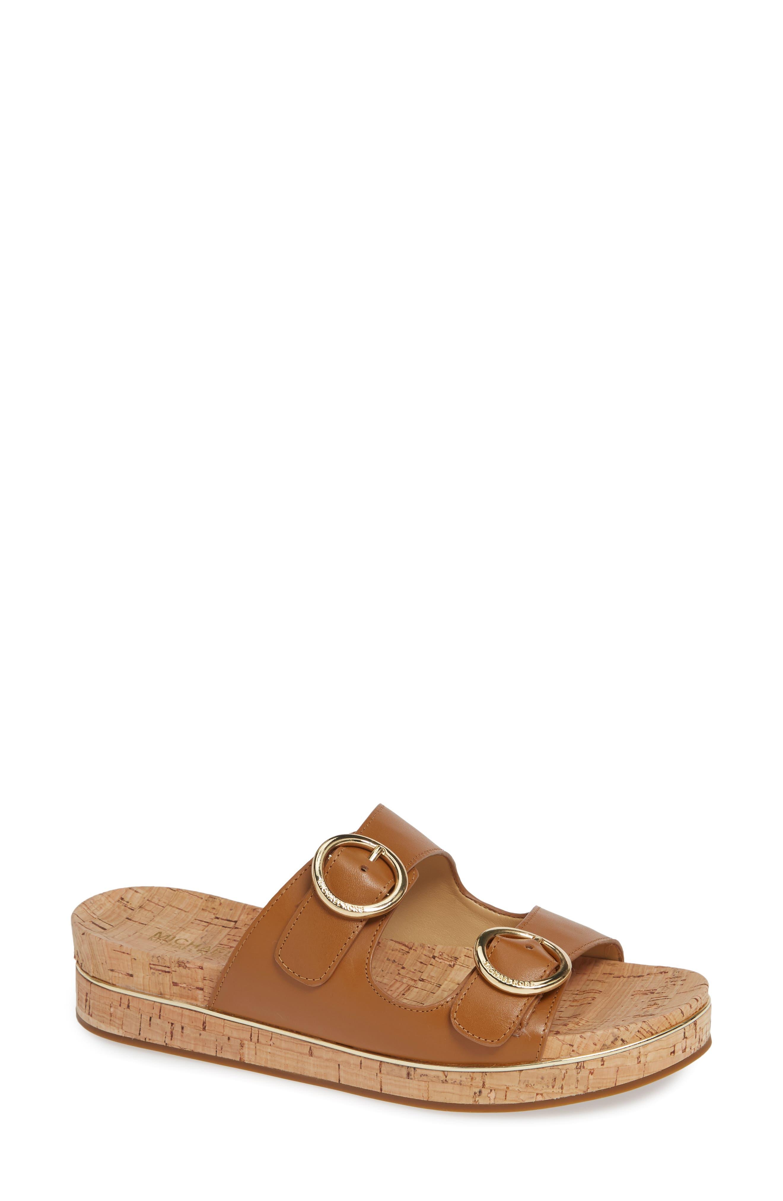 Estelle Slide Sandal, Main, color, ACORN VACHETTA LEATHER