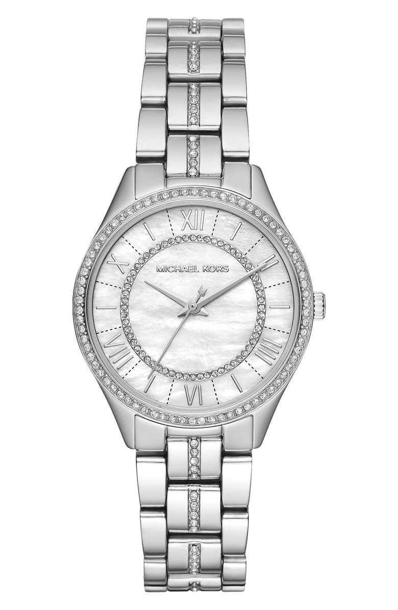 MICHAEL KORS Lauryn Bracelet Watch, 33mm, Main, color, SILVER/ MOP/ SILVER
